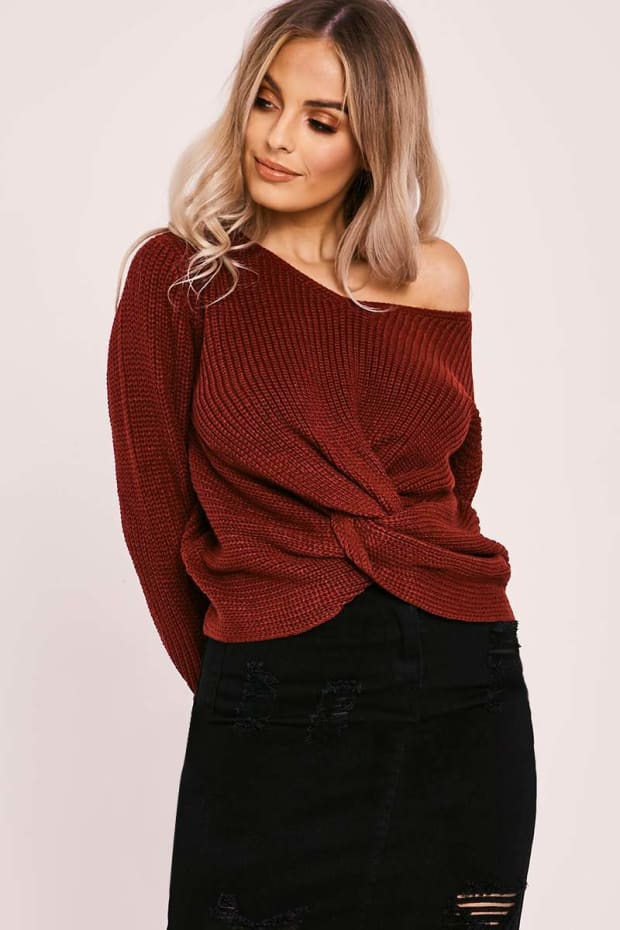 LELANNE WINE KNOT FRONT KNITTED JUMPER