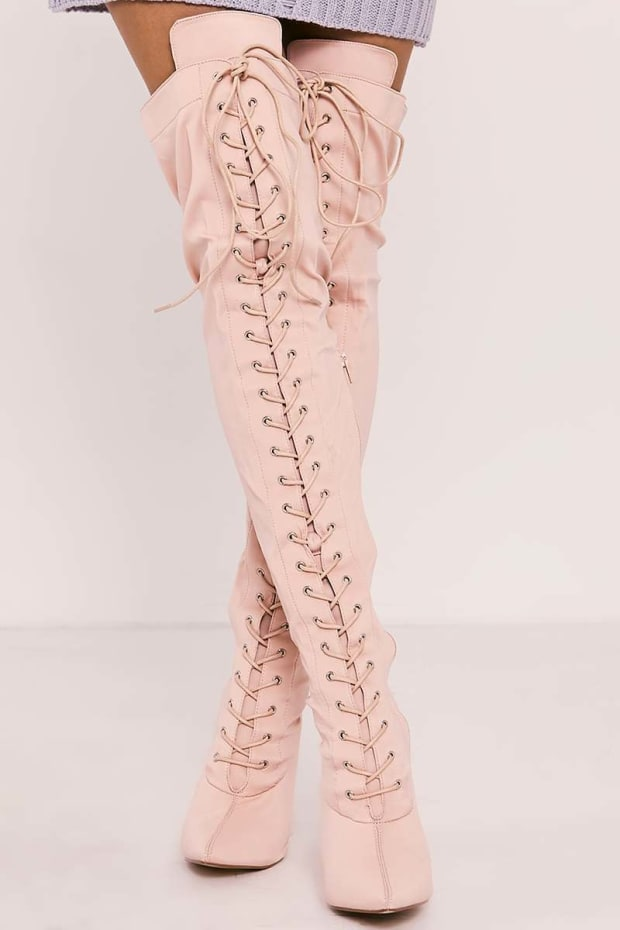 TYONNA NUDE LACE UP FRONT OVER THE KNEE HEELED BOOTS