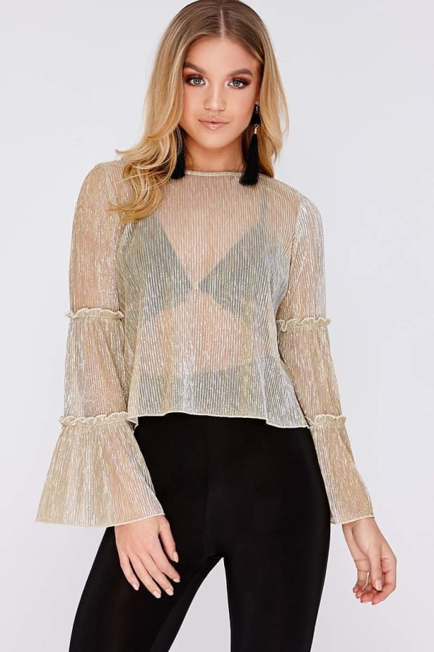 LENEA GOLD LUREX FRILL SLEEVE TOP