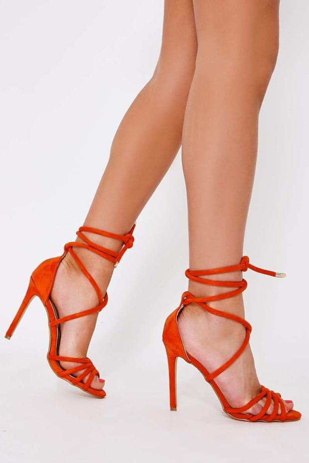 d04b0fc78bb Star Orange Faux Suede Lace Up Heeled Sandals