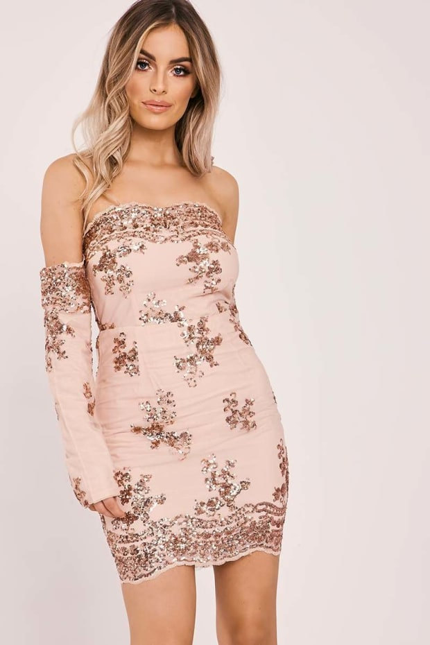 Debs Rose Gold Floral Sequin Bardot Dress In The Style