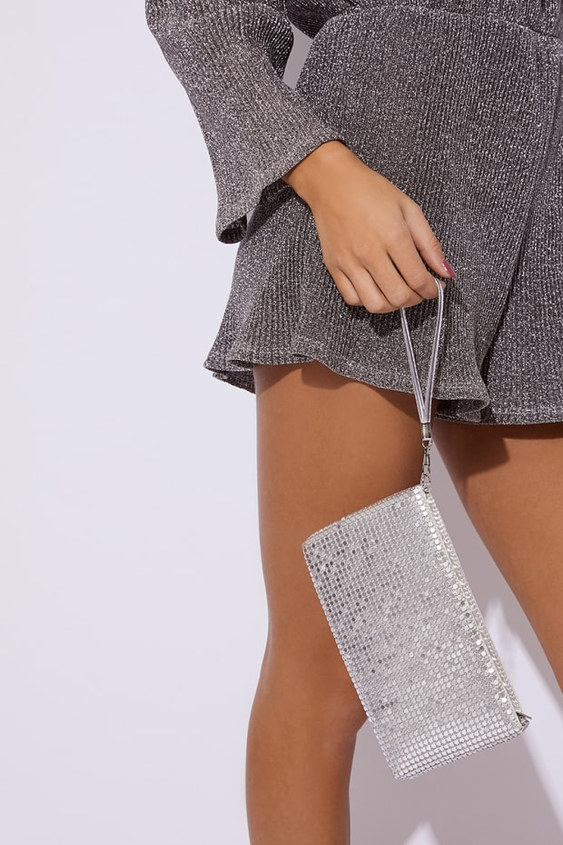 SILVER CHAINMAIL CLUTCH BAG