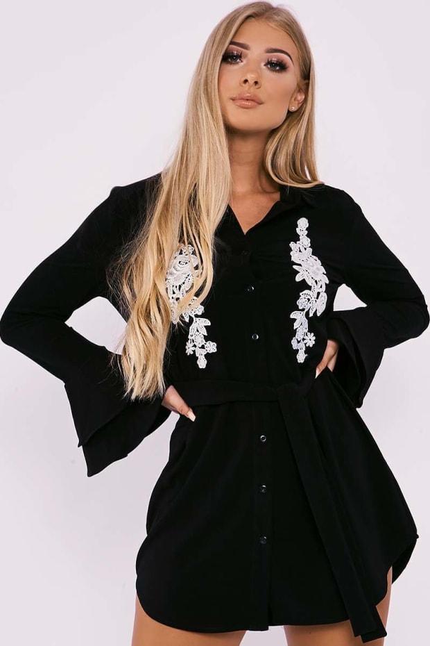 BILLIE FAIERS BLACK FLORAL APPLIQUE DOUBLE FRILL SHIRT DRESS