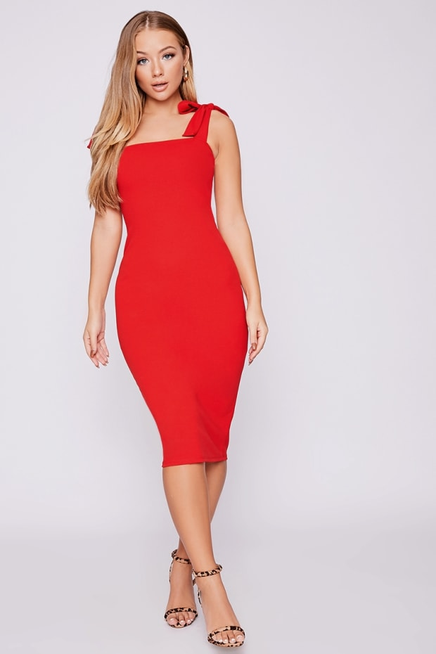 BILLIE FAIERS RED TIE SHOULDER MIDI DRESS
