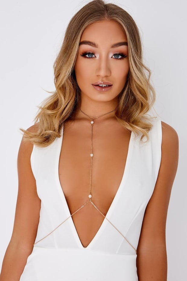GOLD PEARL BODY CHAIN