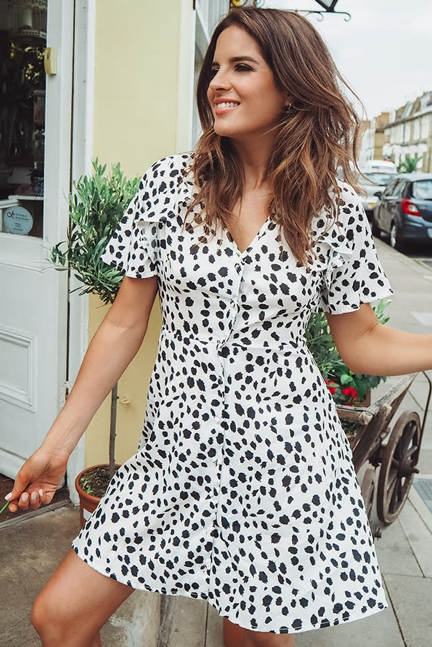 BINKY WHITE ANIMAL PRINT CUT OUT BACK DRESS