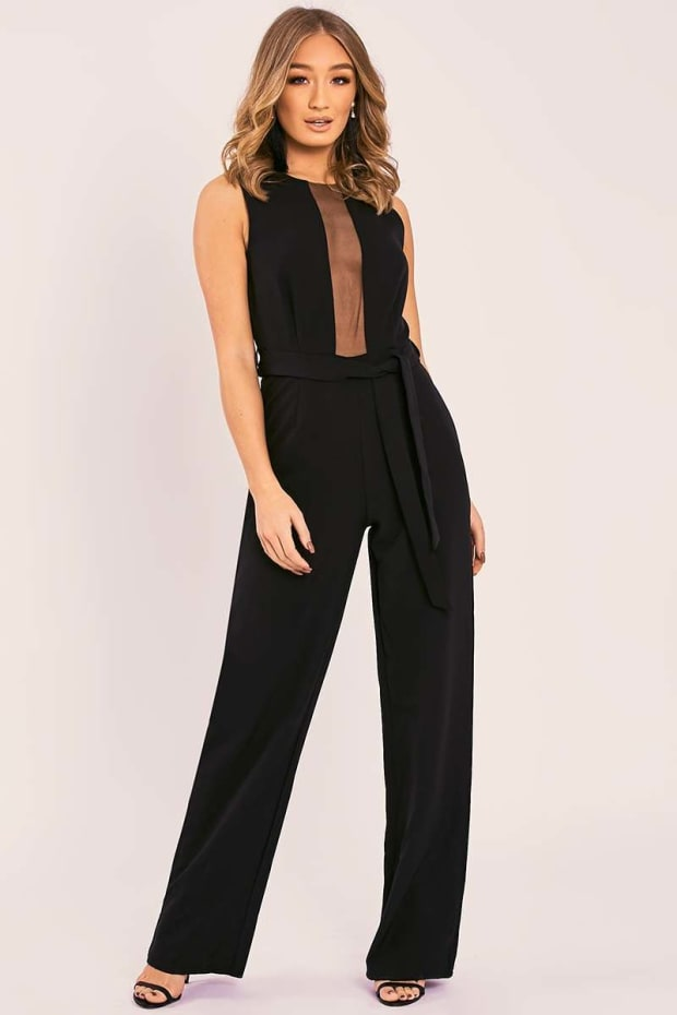 PALMER BLACK MESH PANEL TIE WAIST WIDE LEG JUMPSUIT