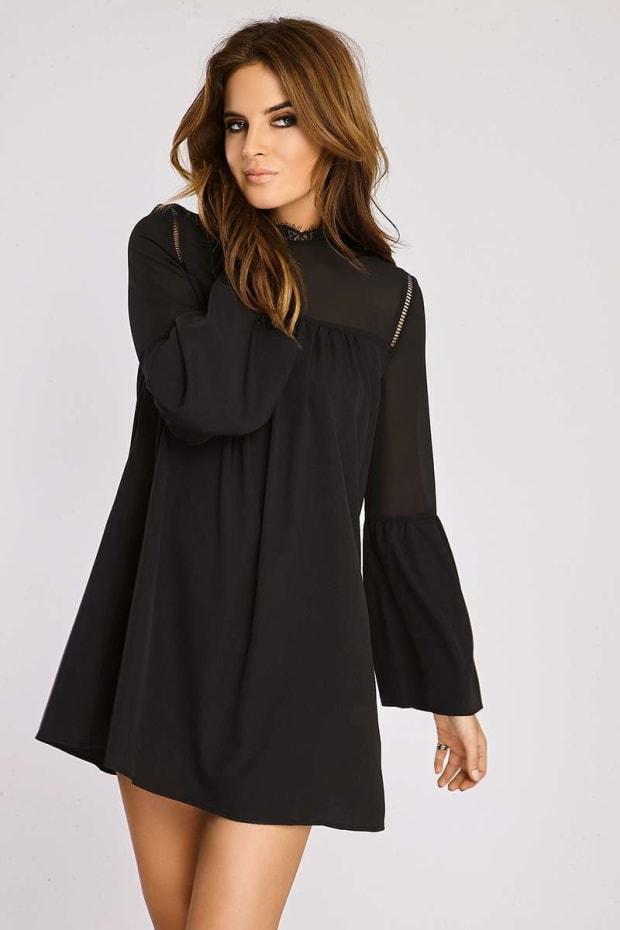 Binky Black Lace Neck Swing Dress