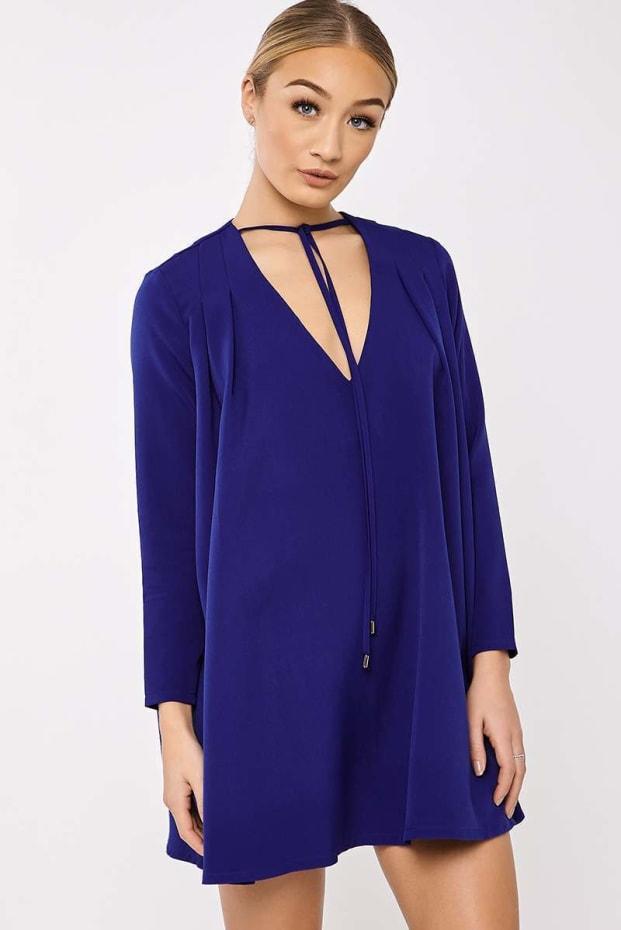 BINKY COBALT BLUE PLEATED SWING DRESS