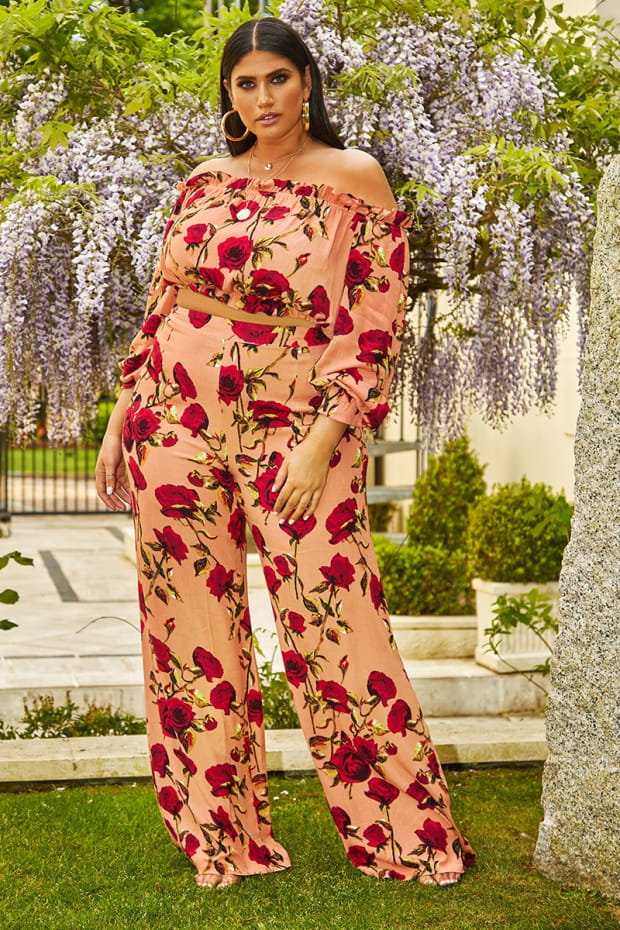 CURVE LATECIA PINK FLORAL PALAZZO TROUSERS