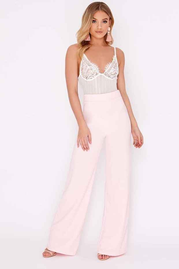 HANELLA BABY PINK CREPE WIDE LEG TROUSERS