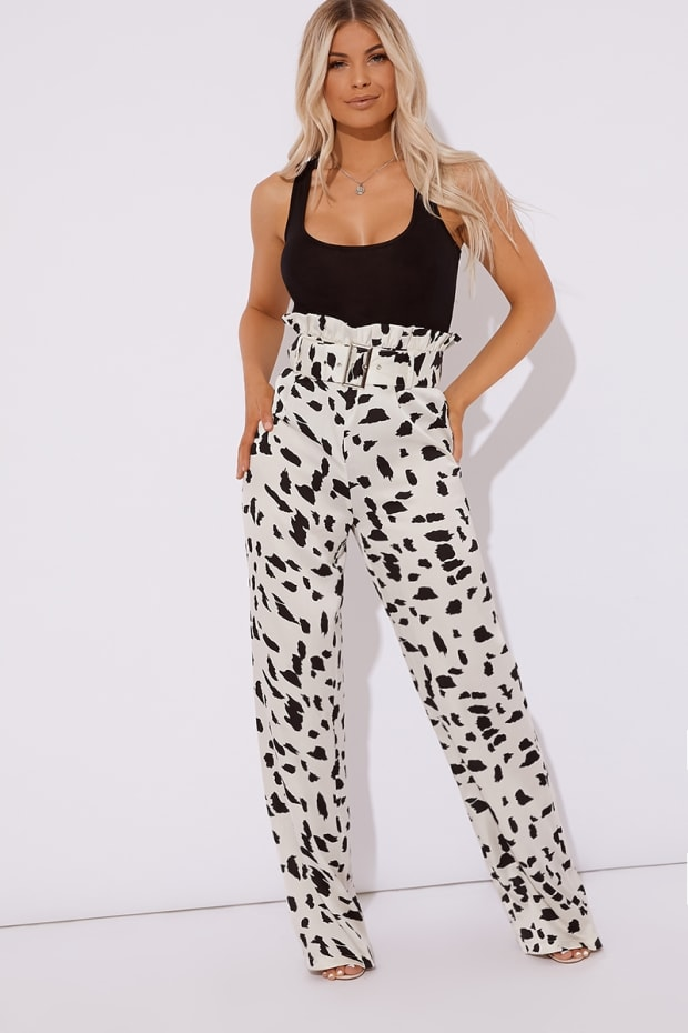 NERYS DALMATION PRINT PAPERBAG WAIST BUCKLE DETAIL WIDE LEG TROUSERS