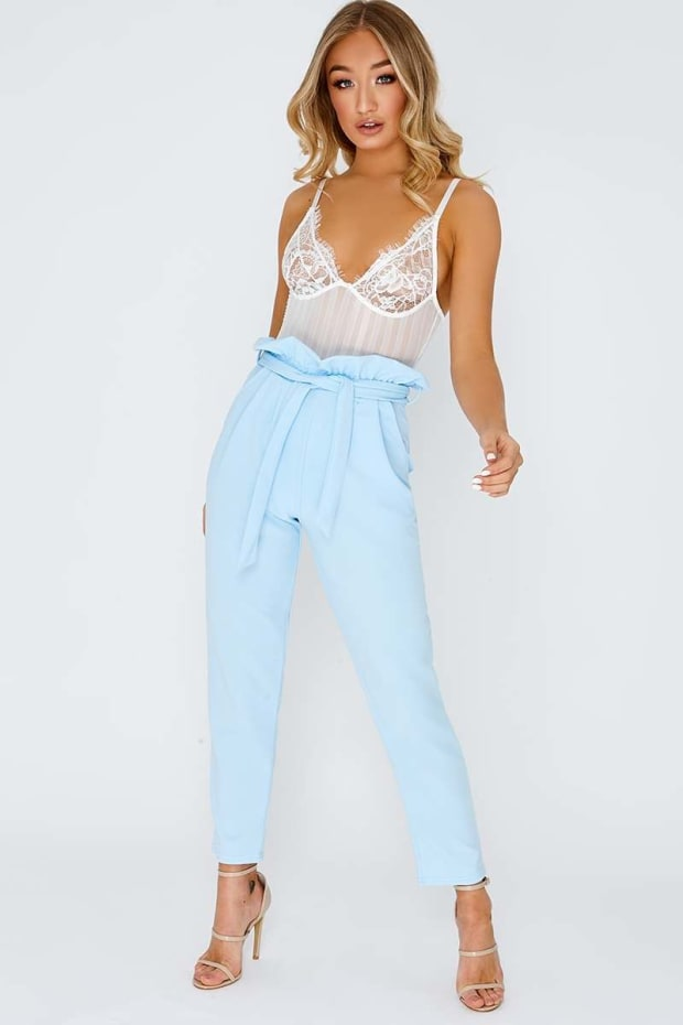 CODIA BABY BLUE PAPERBAG SKINNY TROUSERS