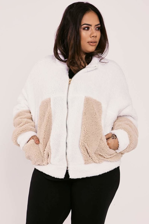 CURVE SARAH ASHCROFT CREAM TEDDY FUR CONTRAST PANEL SUPER OVERSIZED JACKET