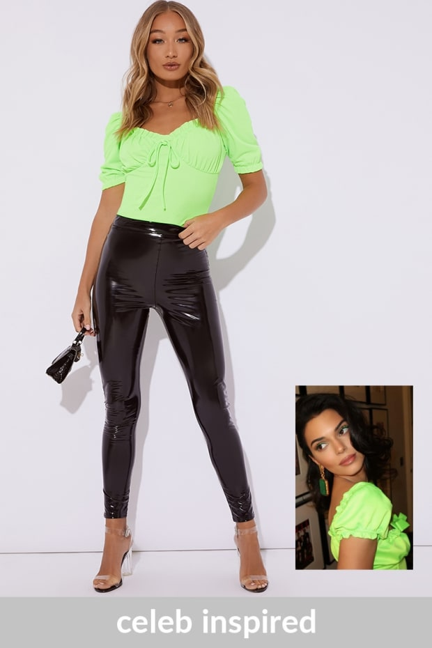 45a885cf7bb29 Priya Lime Green Puff Sleeve Tie Front Top