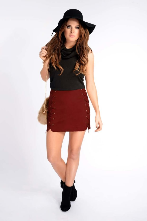 Binky Wine Faux Suede Lace Up Side Skirt