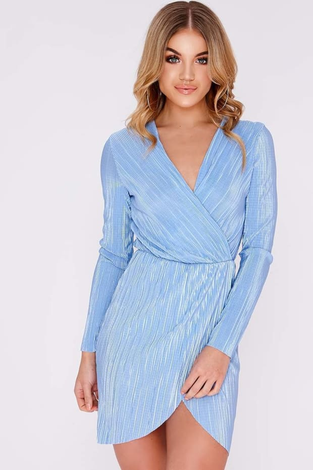 GEM BLUE CRINKLE WRAP DRESS