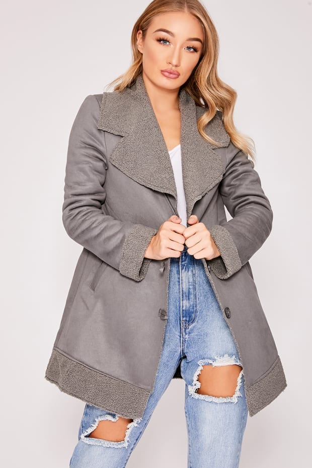 DENISE GREY FAUX SUEDE SHEARLING LINED JACKET