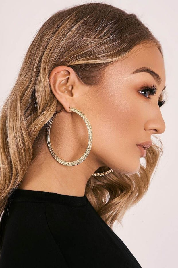 GOLD THREE ROW HOOP EARRINGS