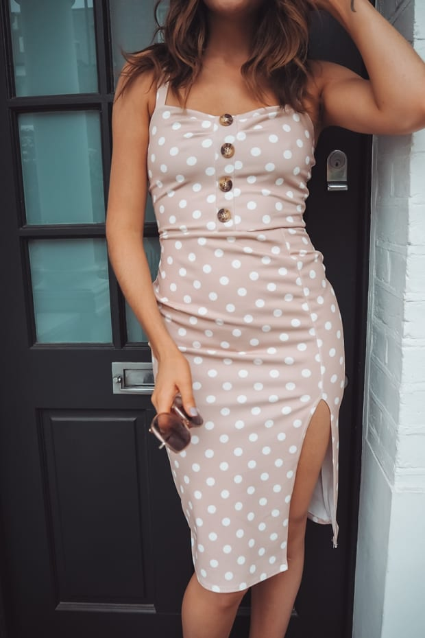 BINKY NUDE POLKA DOT BUTTON DOWN MIDI DRESS