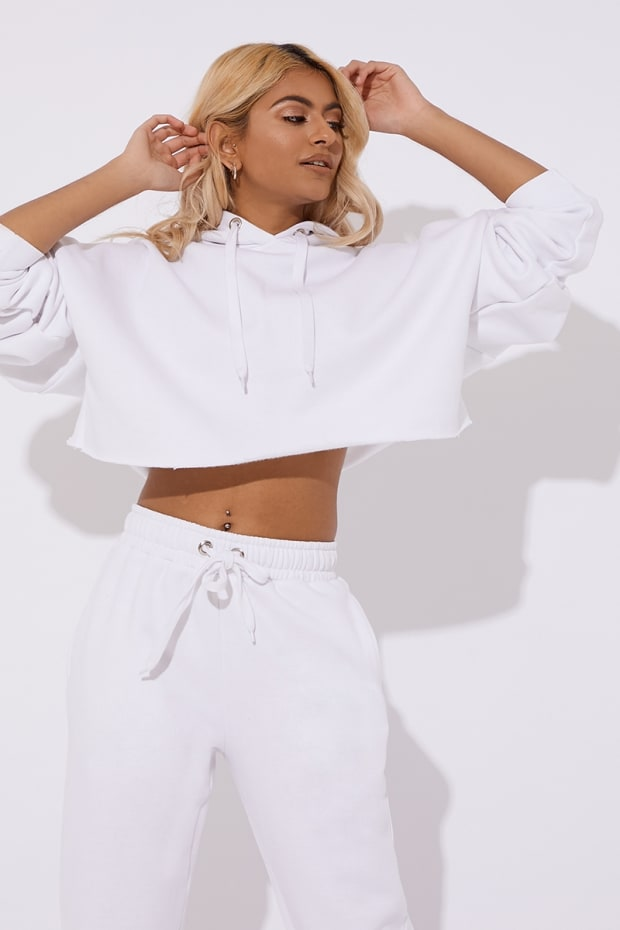 PETRA WHITE OVERSIZED CROPPED HOODIE