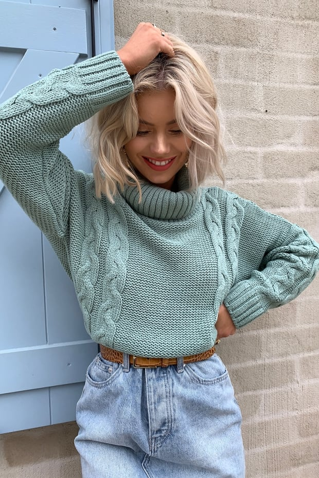 LAURA JADE LIGHT GREEN CROPPED CABLE KNIT JUMPER