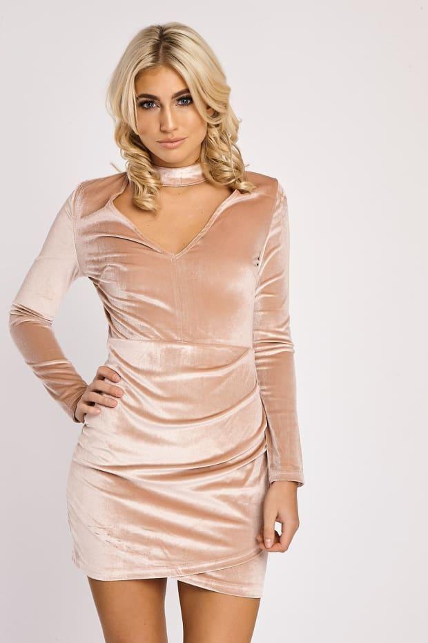 FELESA ROSE VELVET LONG SLEEVE CHOKER DRESS