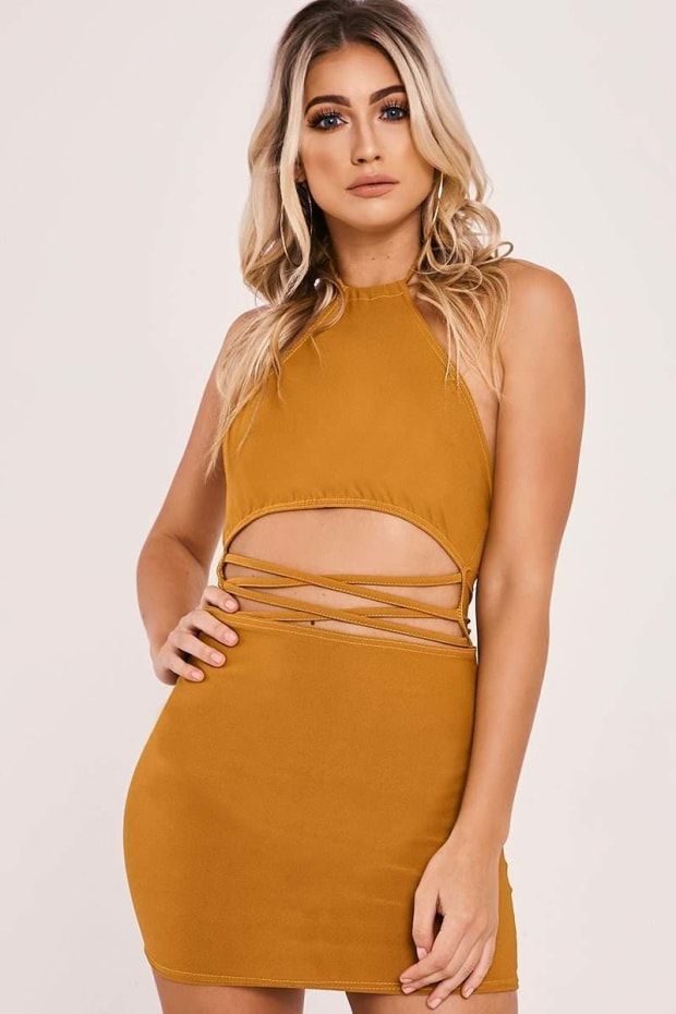 GOYA MUSTARD STRAPPY WAIST HALTERNECK MINI DRESS