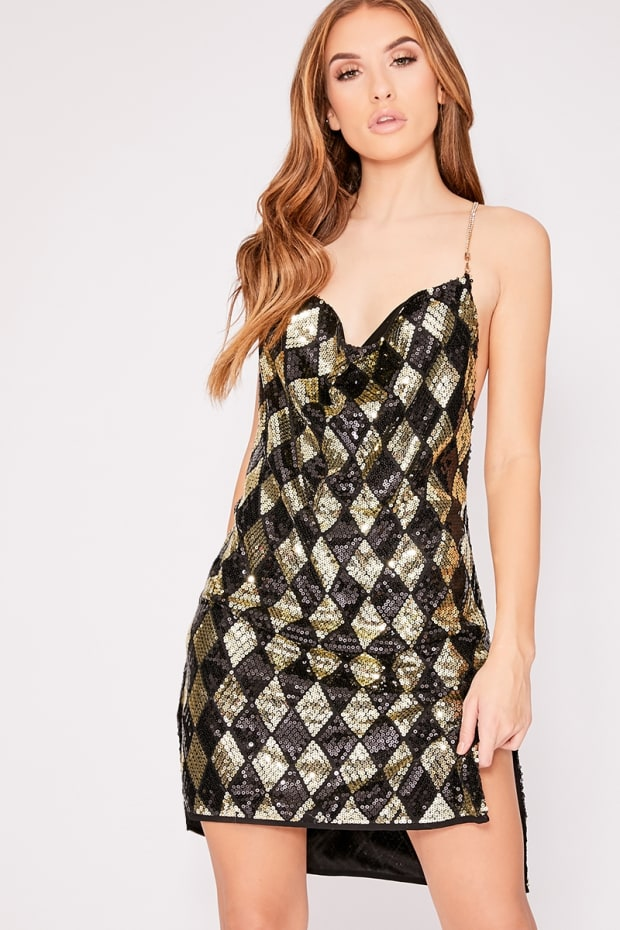 HARLII BLACK AND GOLD SEQUIN COWL NECK DRESS