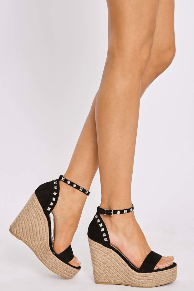 AXELLE BLACK FAUX SUEDE STUDDED WEDGE ESPADRILLES
