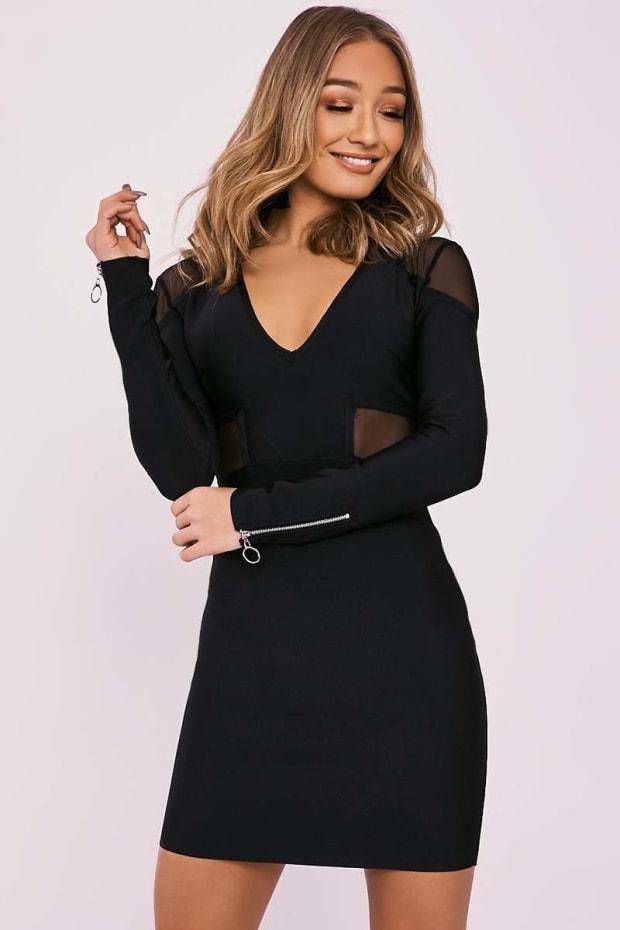 DYNA BLACK MESH INSERT PLUNGE BANDAGE DRESS