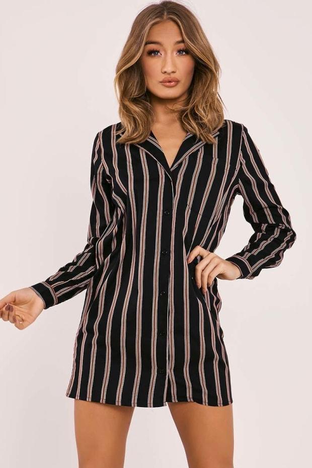 ATAYA BLACK STRIPED BLAZER SHIRT DRESS