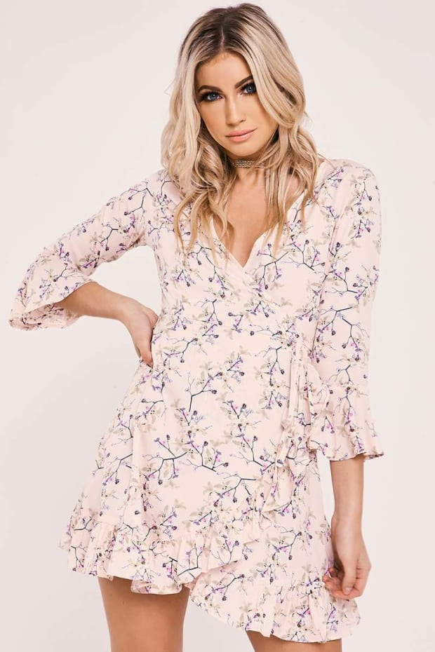 RIANNE PINK FLORAL WRAP FRONT FRILL DRESS