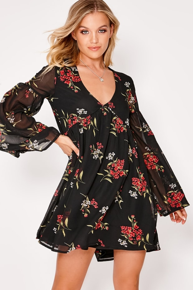 ADYSON BLACK OVERSIZED FLORAL PLUNGE FLARED SLEEVE SMOCK DRESS