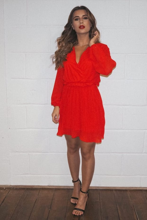 DANI DYER RED BALLOON SLEEVE PLEATED MINI DRESS