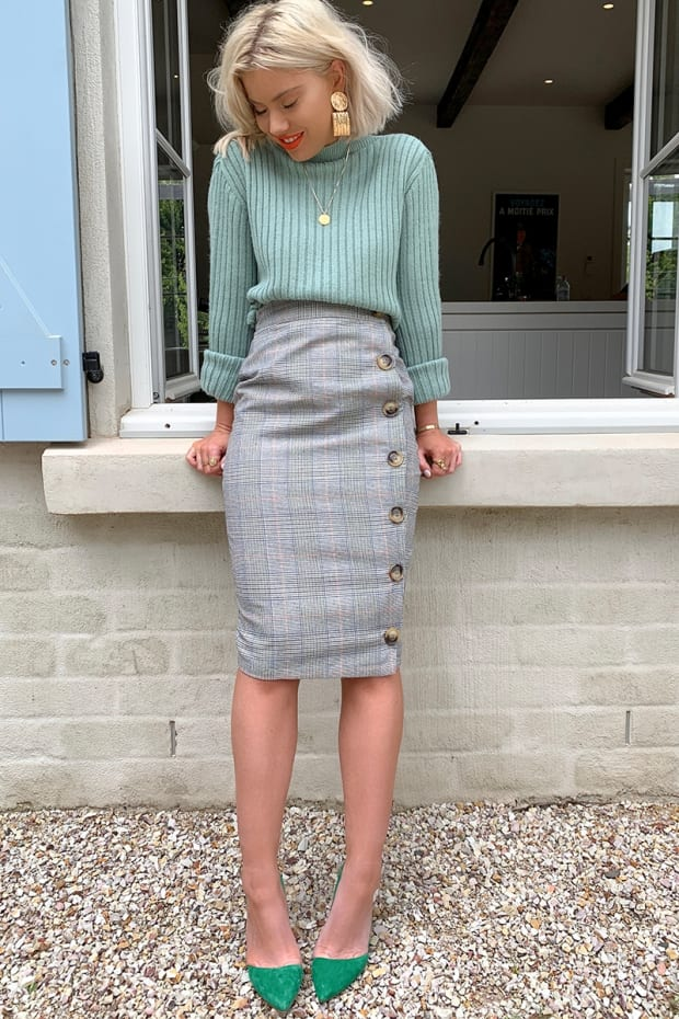 320a6264fc01b Laura Jade Grey Heritage Check High Waisted Midi Skirt With Button Side  Split