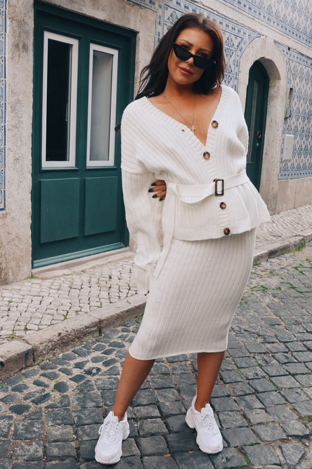LORNA LUXE 'NO REGRETS' RIBBED CREAM MIDI SKIRT