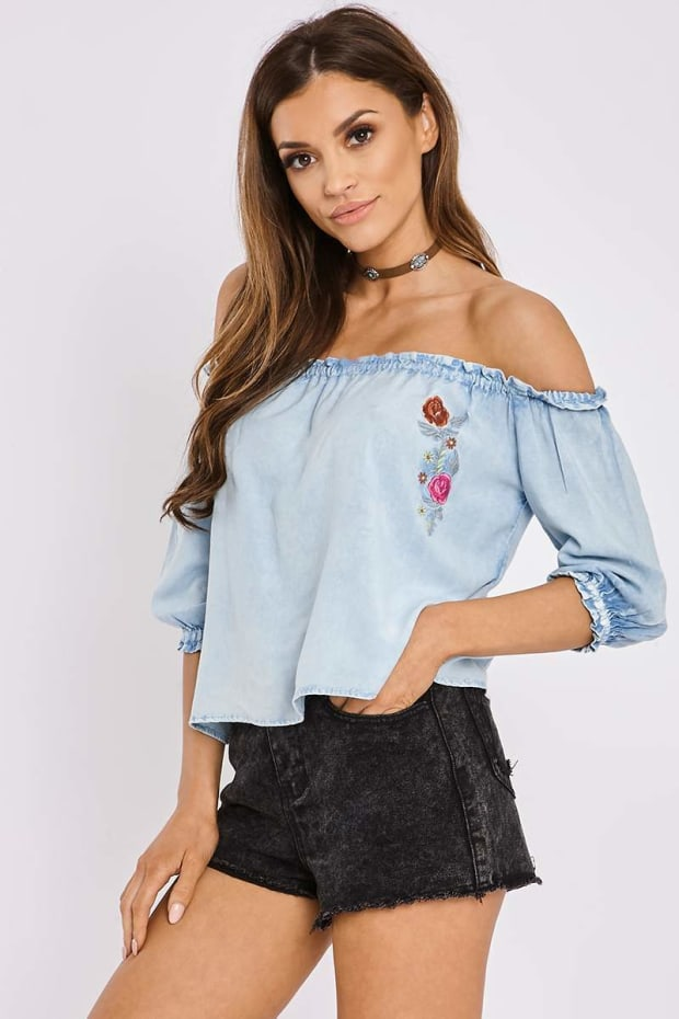 LILYBELL LIGHT WASH EMBROIDERED CHAMBRAY BARDOT TOP