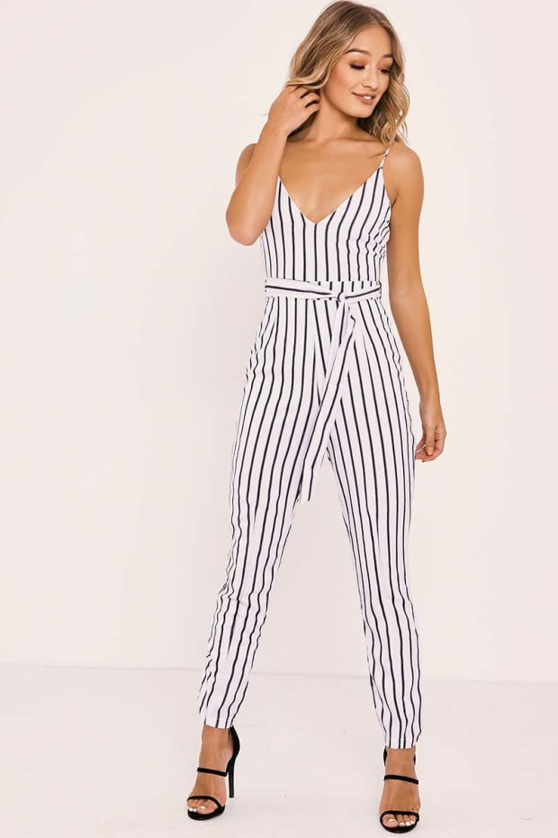 SHANEIKA WHITE STRIPED PLUNGE BELTED JUMPSUIT