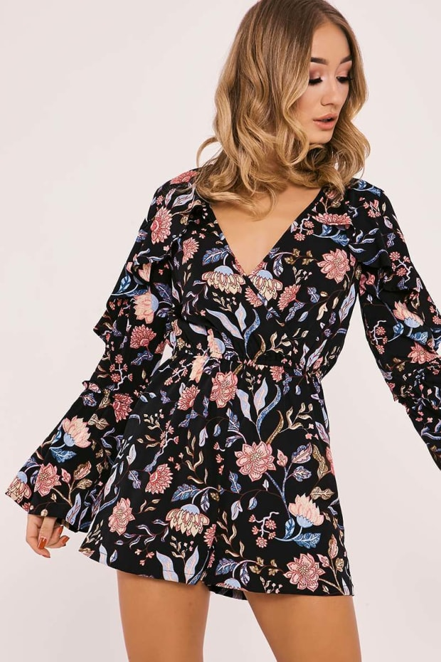 5a943305c643 Rayona Black Floral Frill Sleeve Wrap Front Playsuit