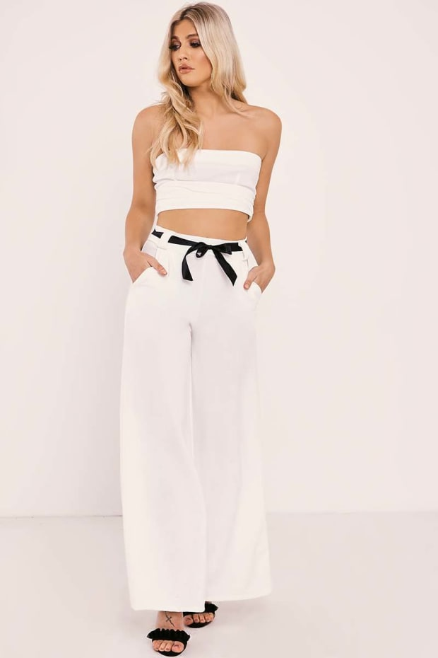 JHENE CREAM RIBBON BELT WIDE LEG TROUSERS