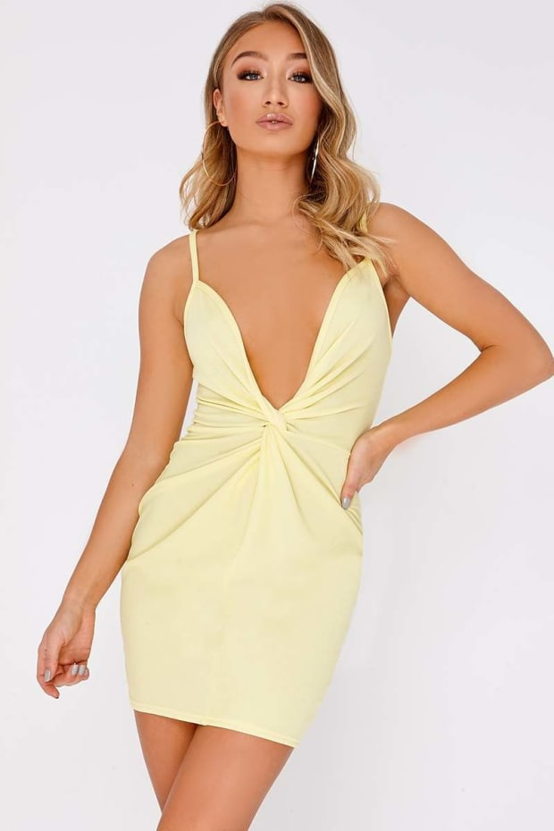 DARIE LEMON TWIST FRONT PLUNGE MINI DRESS
