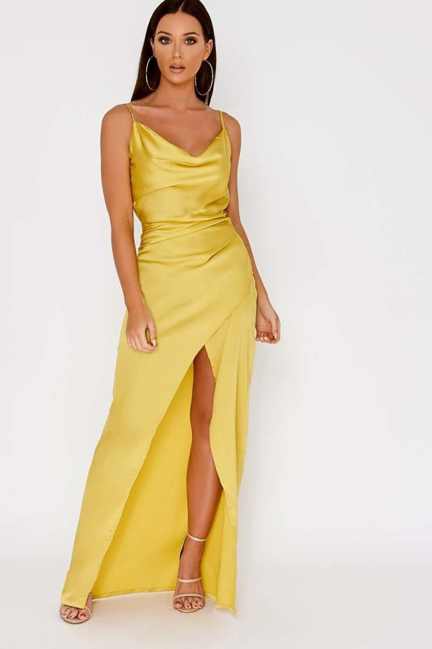 ADEA LIME COWL NECK WRAP SPLIT MAXI DRESS