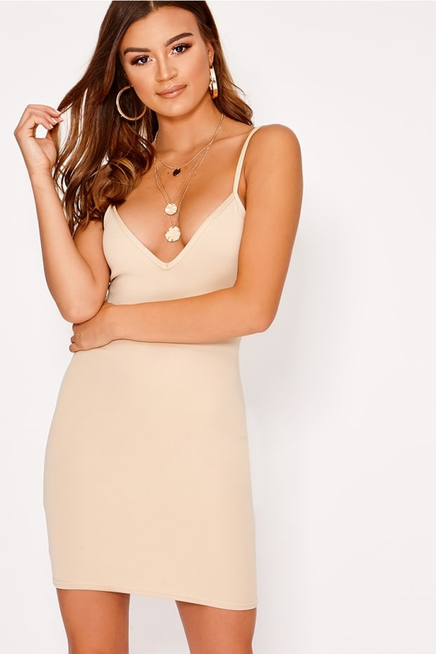 BASIC STONE SCUBA PLUNGE BODYCON DRESS
