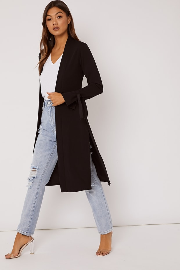 HELEN BLACK TIE SLEEVE BELTED DUSTER JACKET