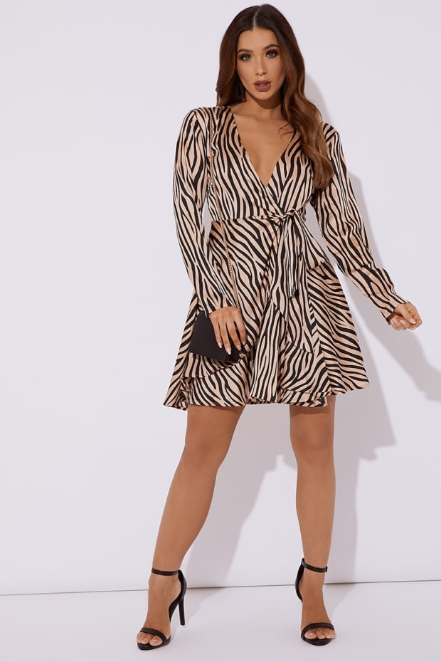 ISSEY BLUSH ZEBRA PRINT SATIN WRAP FRONT SKATER DRESS