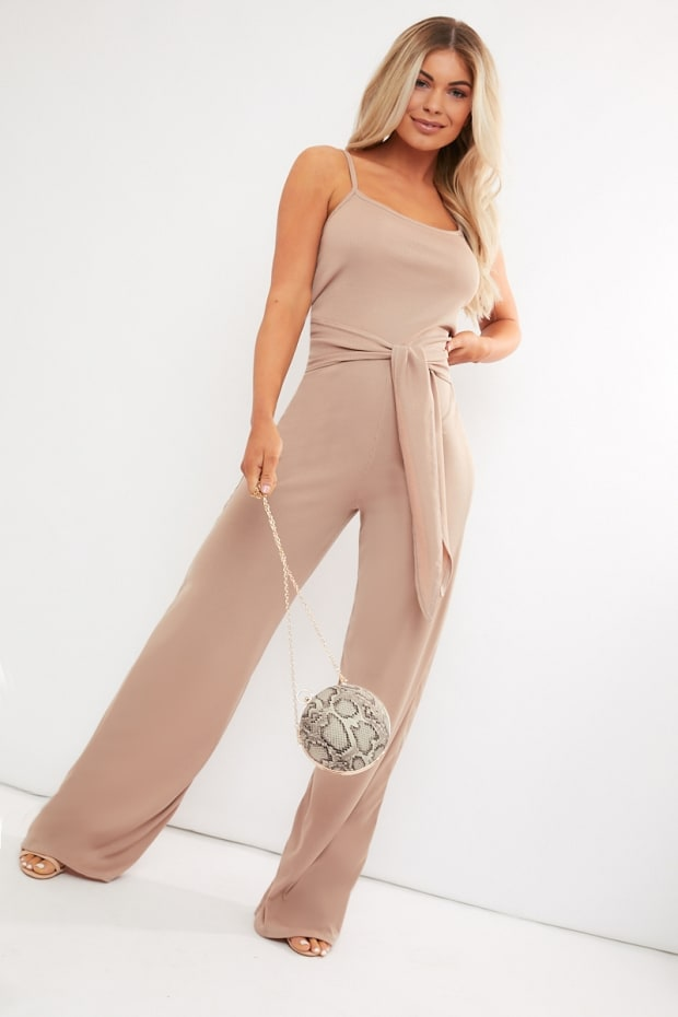 a304f5ec2a0 REED CAMEL RIBBED WIDE LEG TIE WAIST JUMPSUIT. 1