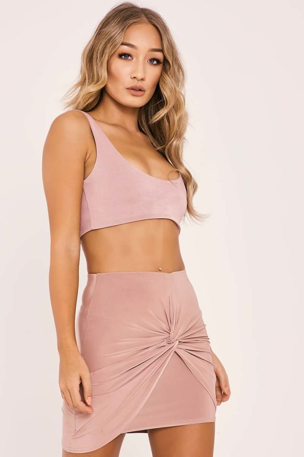 ISLEENE ROSE KNOT FRONT SLINKY MINI SKIRT