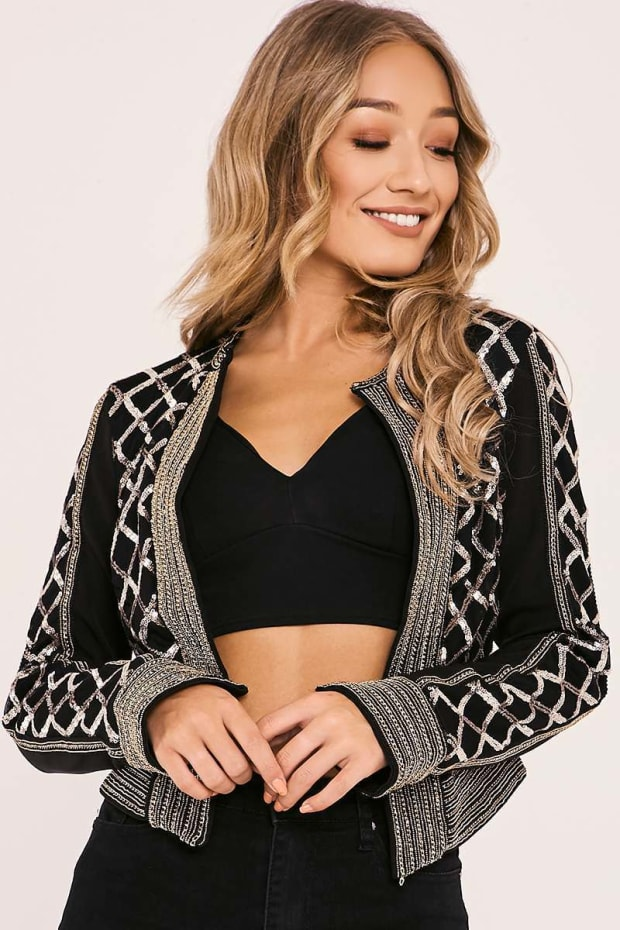 LILITA BLACK AND GOLD SEQUIN JACKET