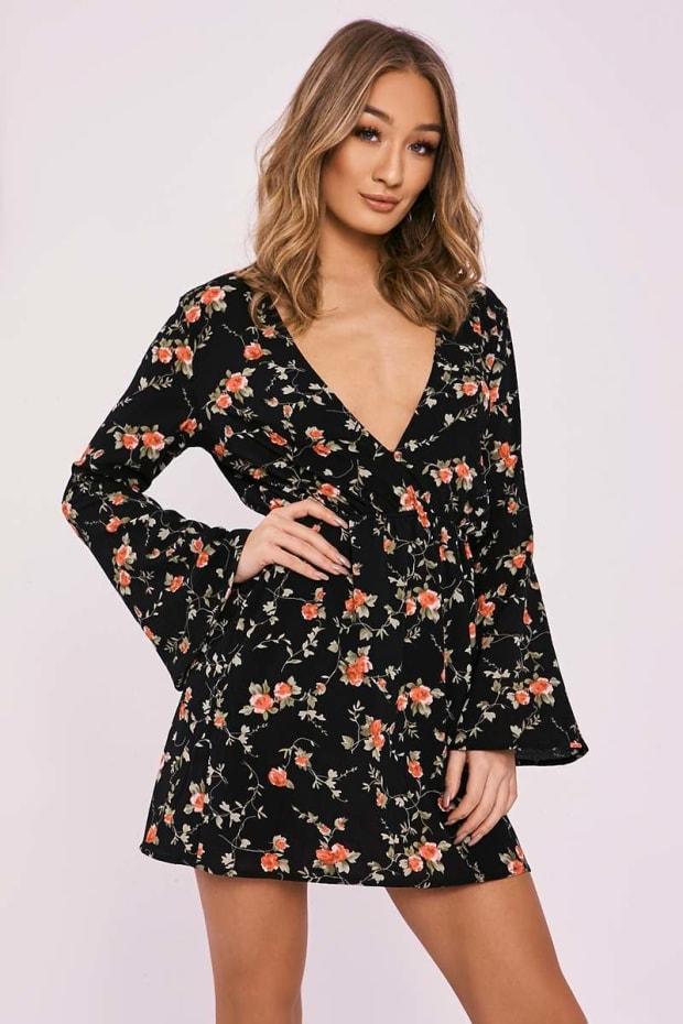 CILIA BLACK FLORAL FLARED SLEEVE PLUNGE DRESS